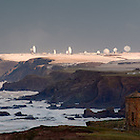 Efford Beacon, Bude, Cornwall, UK, Atlantic ocean, cliff, cliffs, cloud, field, fields, frost, frozen, green, orange, sea, seas, sky, snow, sunny, water, satellite dish, GCHQ, dramatic, storm, stormy, Compass Point, Pepperpot, octagonal, fence, Menachurch Point, Duckpool, down, downs, wave, waves, swell
